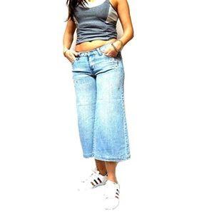 Women's Blue Flare Capri Stretch jeans